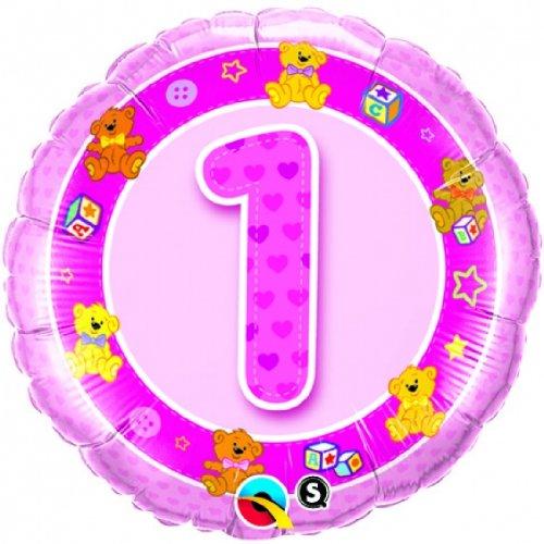 Folienballon 1 pink Teddies