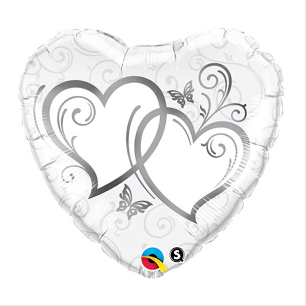 Folienballon verschlungene Herzen Silber-weiß 18in/45cm