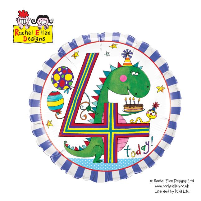 Folienballon Rachel-Ellen 4 Dinosaurier Stripes