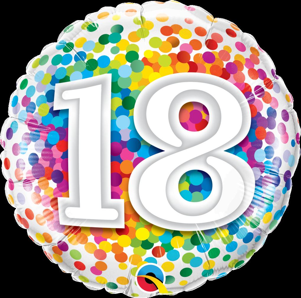 Folienballon Rainbow Confetti 18