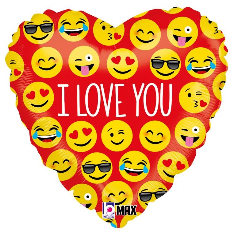 Folienballon  I Love you Smiley Herz