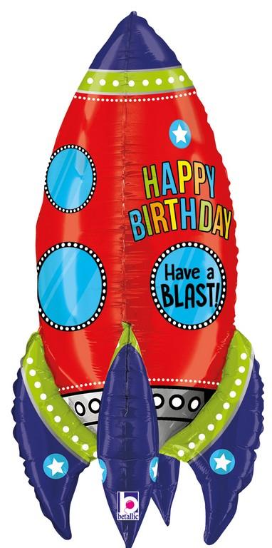 Folienballon Supershape Birthday Rakete