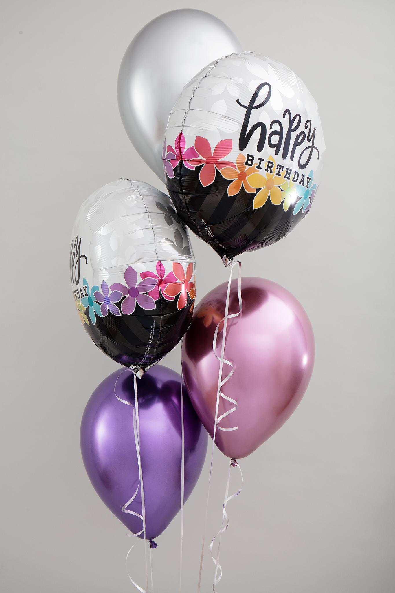 Bouquet aus 3x Latexballons und 2x bedruckte Folienballons