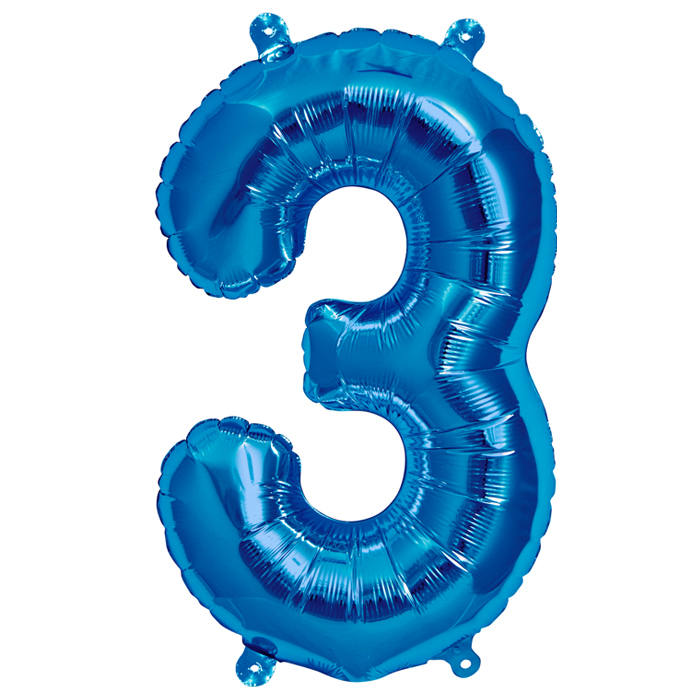Zahlenballon Blau S - 3