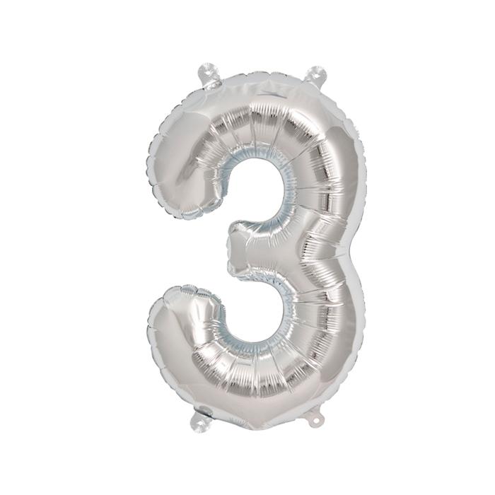 Zahlenballon Silber S - 3