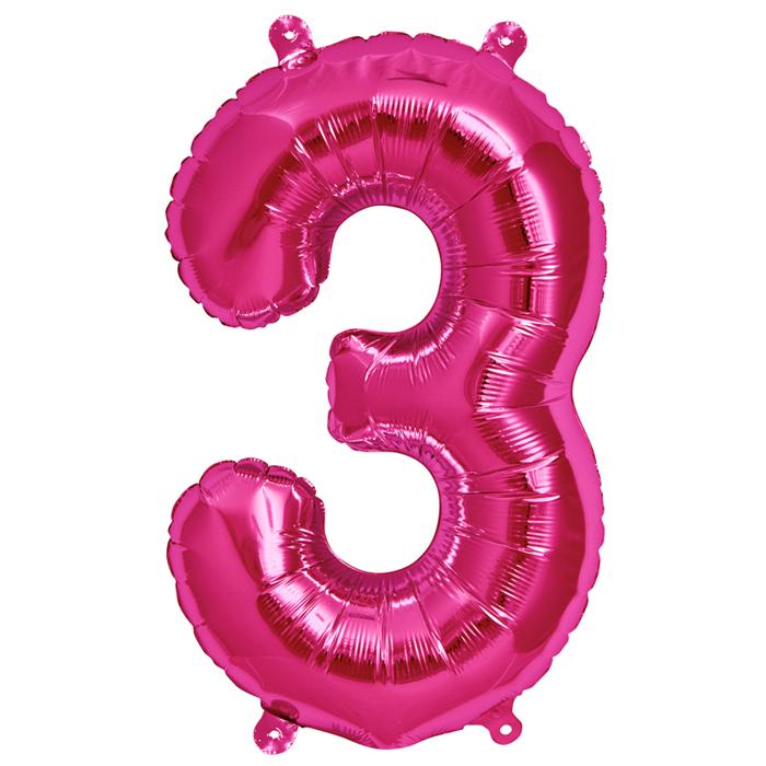 Zahlenballon Magenta  XL - 3