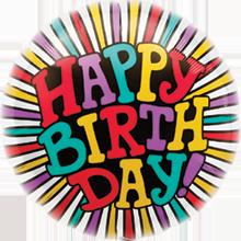 Folienballon Happy Birthday Radiating