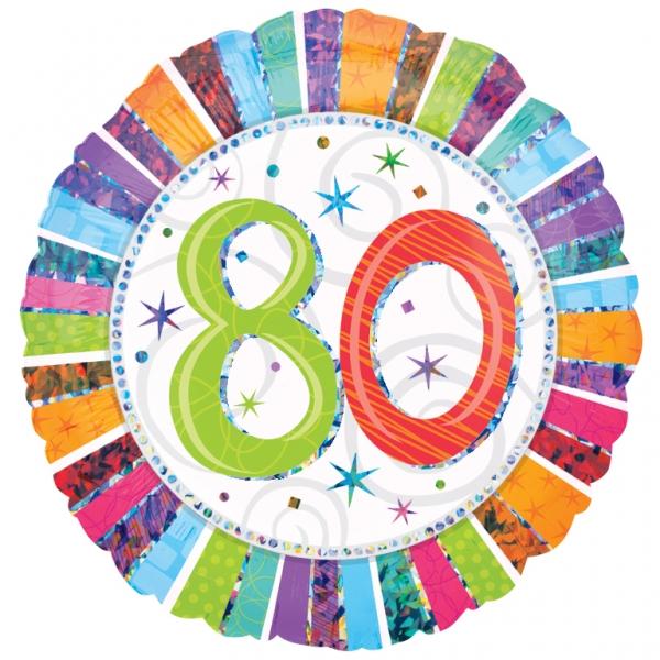 Folienballon Radiant Birthday 80