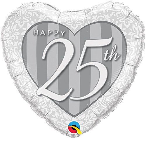 Folienballon Happy 25th silber