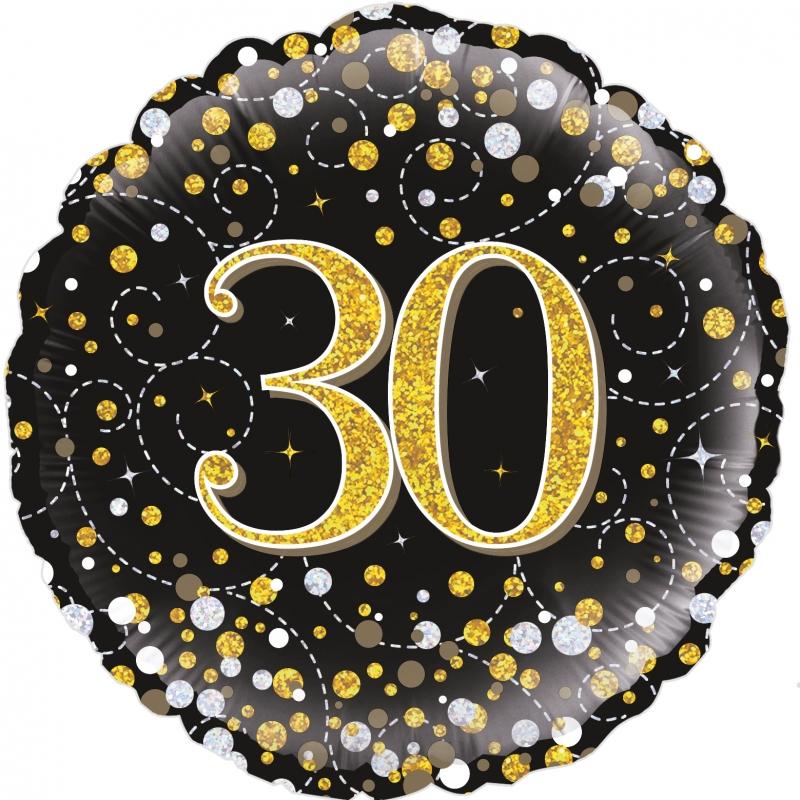 Folienballon Sparkling Fizz schwarz gold 30