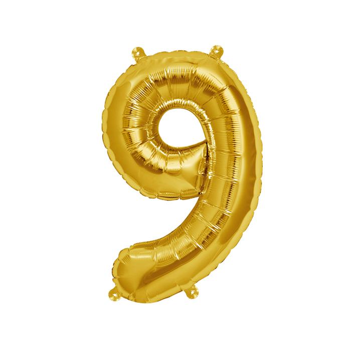 Zahlenballon Gold S - 9