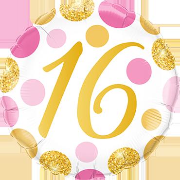 Folienballon Pink und Gold Dots 16