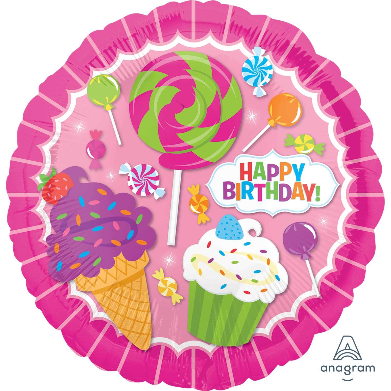 Folienballon Happy Birthday Candy