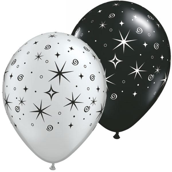 Latexballon Sparkles and Swirls Silver and Black Assortment - 1 Stück
