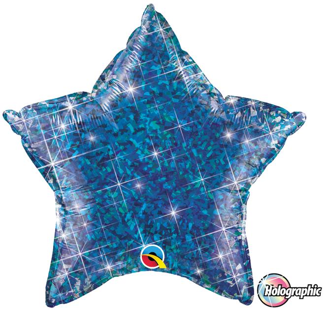 Folienballon Jewel Blau Holographie Stern