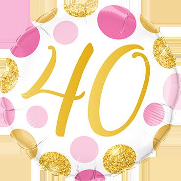 Folienballon Pink und Gold Dots 40