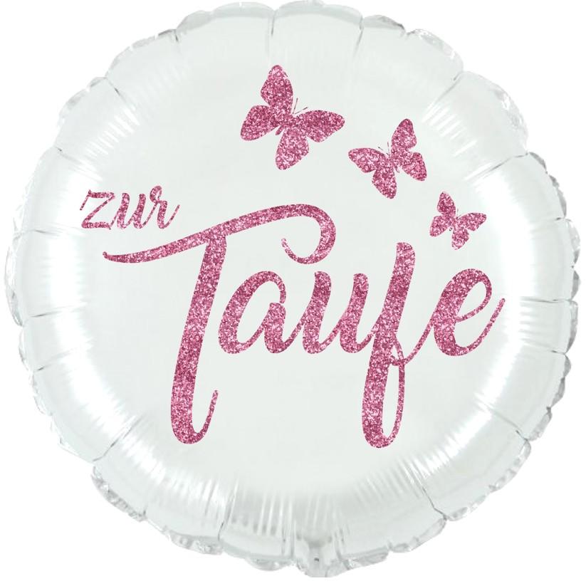 Folienballon Taufe perlmuttweiß mit Glimmerdruck rosa