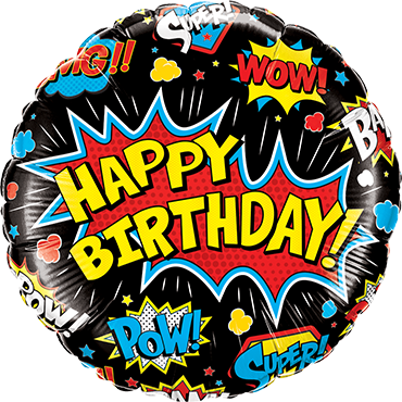 Folienballon Birthday Superhero Black