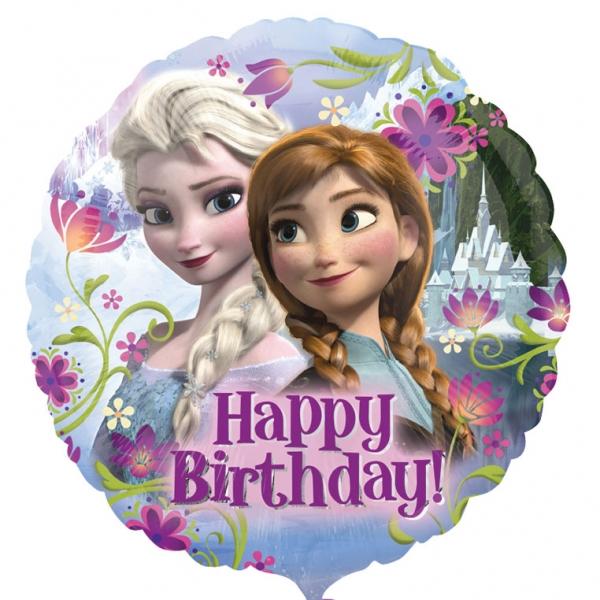 Folienballon Happy Birthday Frozen mit Anna und Elsa