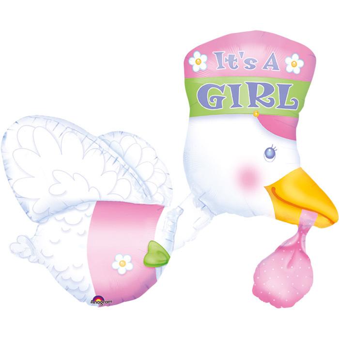 Multi-Ballon Storch Its a girl - 58503