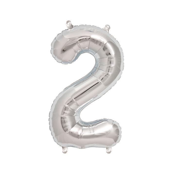 Zahlenballon Silber S - 2