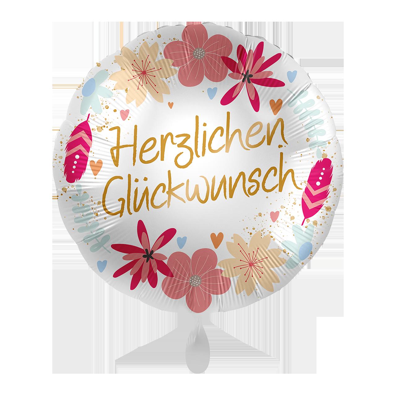 Folienballon Glückwunsch Boho Flowers - 65345