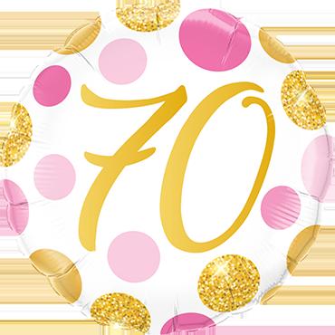 Folienballon Pink und Gold Dots 70