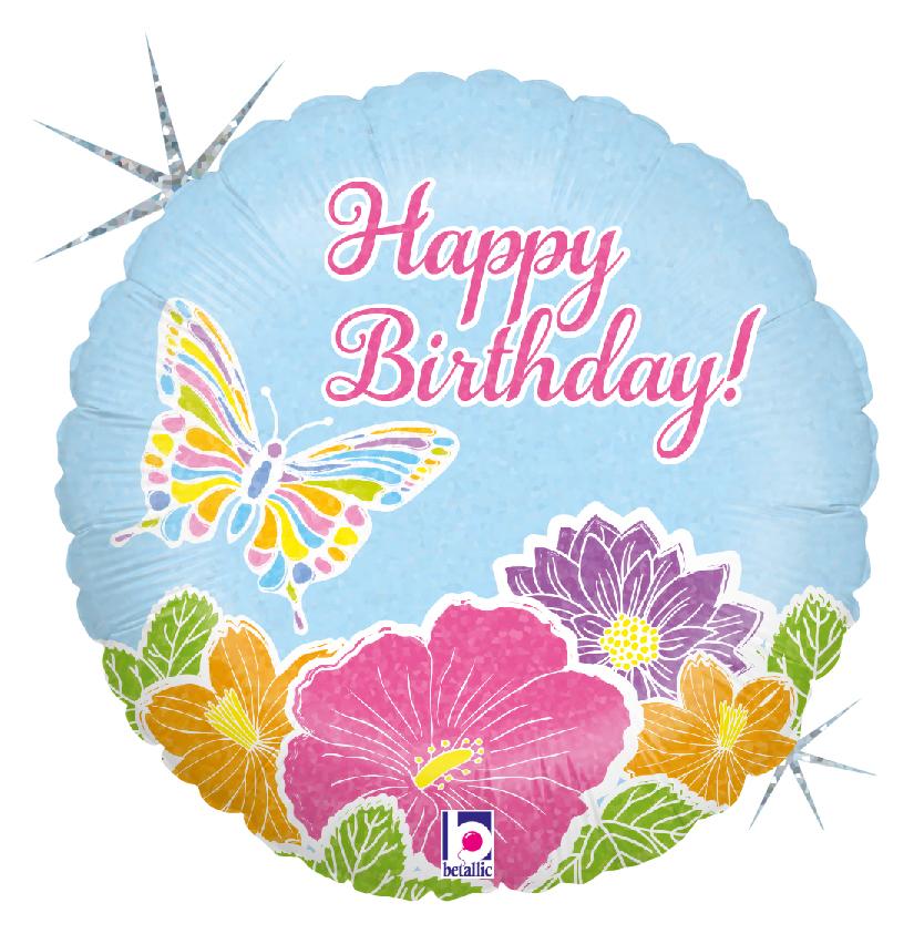 Folienballon Birthday Pastell Blüten