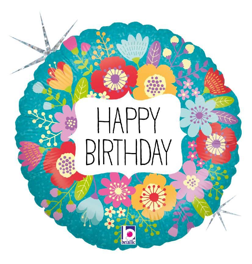 Folienballon Wildblumen Happy Birthday holografisch - 57527