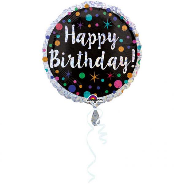 Folienballon Standard Happy Birthday - Polka Dots
