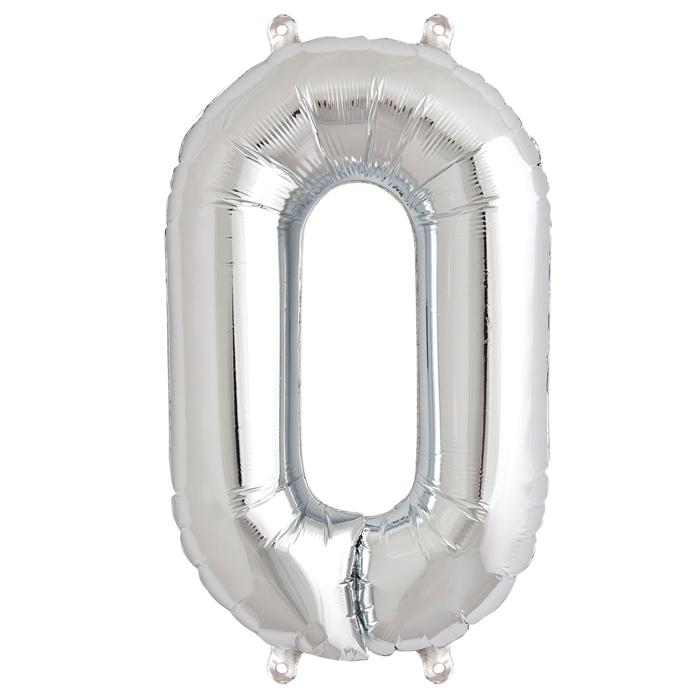 Zahlenballon Silber XL - 0