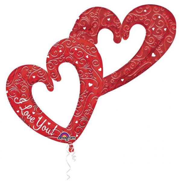 Multi Balloon Verschmolzene Herzen rot - 57559