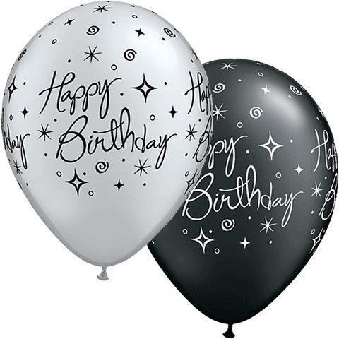 Birthday Elegant swirls schwarz silber - 1 Stück