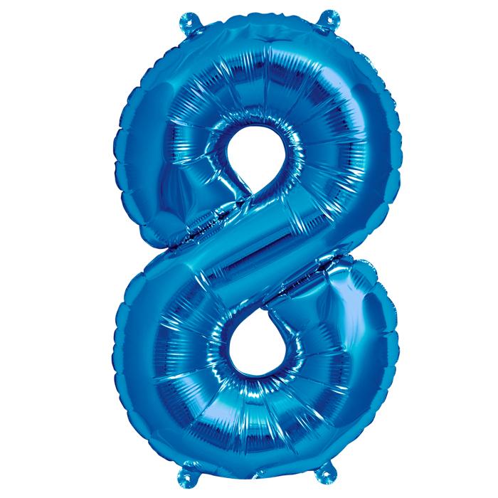Zahlenballon Blau  S - 8