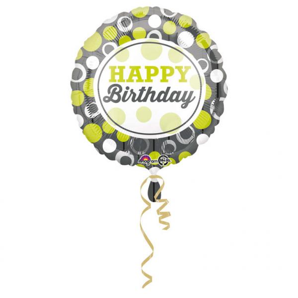 Folienballon Standard Happy Birthday grüne und silberne Kreise
