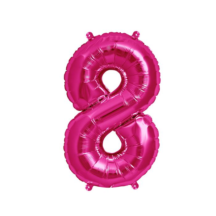 Zahlenballon Magenta S - 8