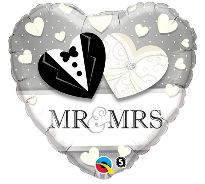 Folienballon Herz Mr an Mrs - 59000