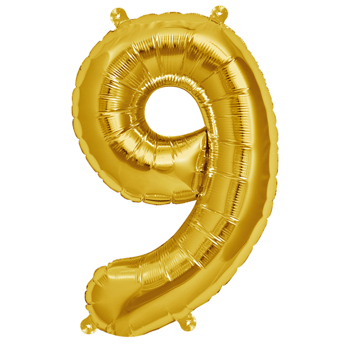 Zahlenballon Gold  XL - 9