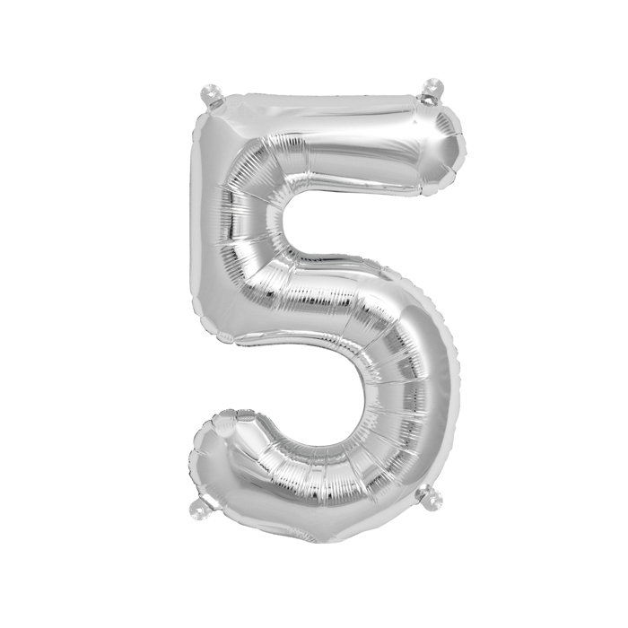Zahlenballon Silber S - 5